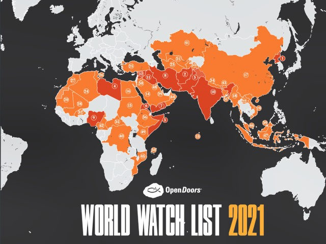 World Watch List 2021: the 50 countries where it is most dangerous to be a Christian. The top 5 are North Korea, Afghanistan, Somalia, Libya and Pakistan.